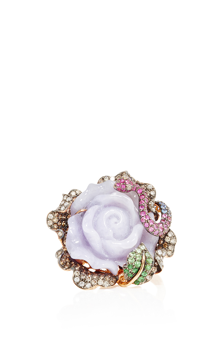 Jade And Pink Sapphire Flower Ring By Wendy Yue Moda Operandi