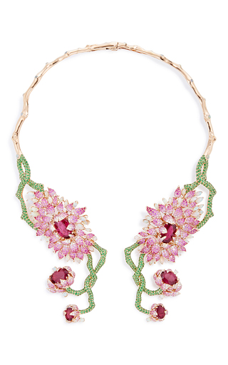 Medium wendy yue multi symmetrical floral collar necklace