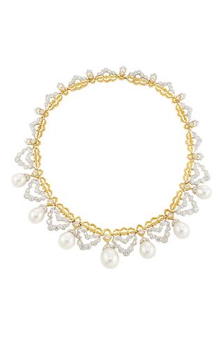 Medium buccellati white pearl and diamond necklace