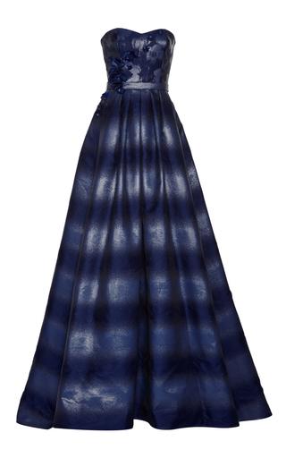 Medium pamella roland blue ombre strapless gown