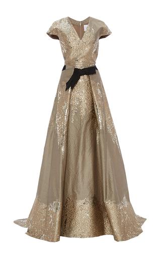 Medium carolina herrera gold short sleeve v neck gown