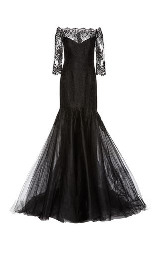 Medium monique lhuillier black chantilly lace off the shoulder gown