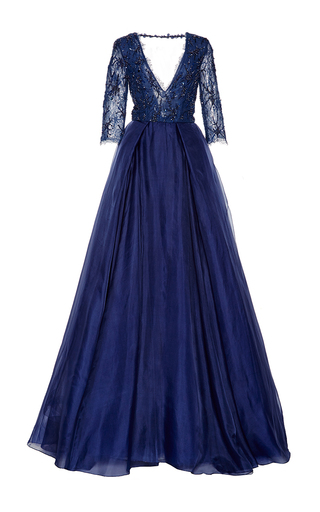 Medium monique lhuillier blue beaded lace ball gown