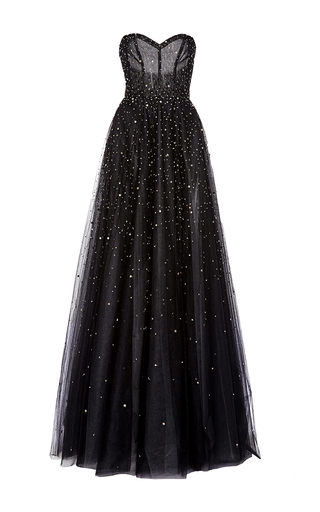 Medium monique lhuillier black strapless ball gown