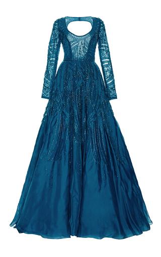 Medium monique lhuillier blue long sleeve ball gown