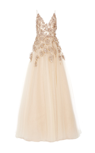 Medium monique lhuillier nude camisole ball gown