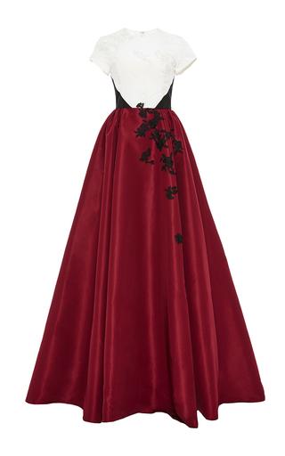 Medium prabal gurung burgundy colorblocked cap sleeve gown