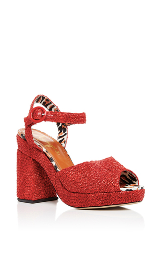 Red Raffia Into The Wild Heels by CHARLOTTE OLYMPIA Now Available on Moda Operandi