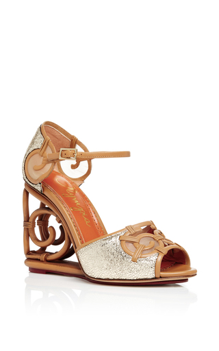 Silver Leather And Rattan Detail Wedges by CHARLOTTE OLYMPIA Now Available on Moda Operandi