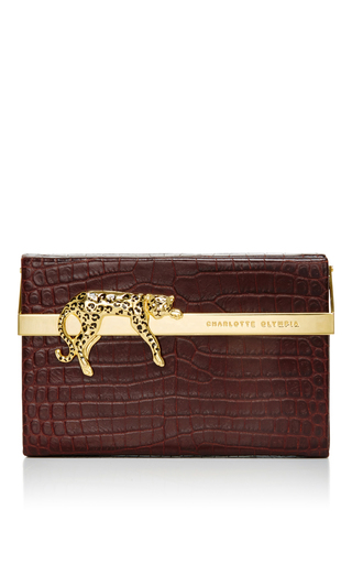Croc Embossed Leather Savage Vanina Clutch by CHARLOTTE OLYMPIA Now Available on Moda Operandi