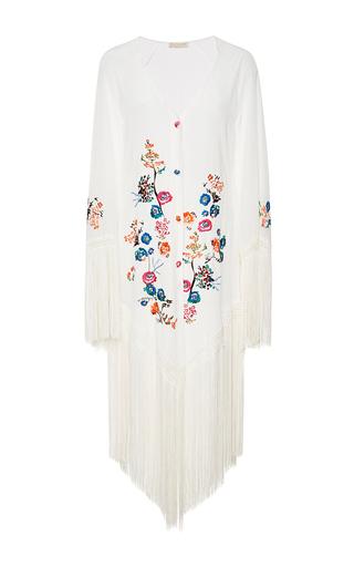 Medium anjuna white marisol fringed embroidered kimono