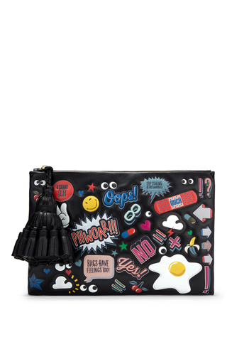 Medium anya hindmarch black georgiana clutch all over wink stickers in black circus leather
