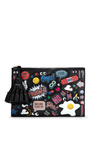 Georgiana All Over Wink Stickers Clutch In Black Circus Leather by ANYA HINDMARCH Now Available on Moda Operandi