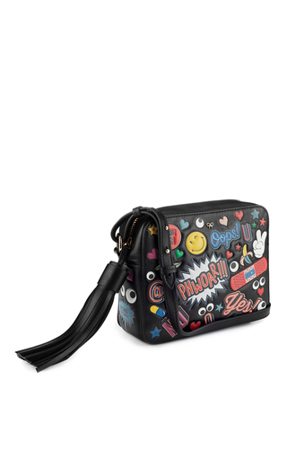Crossbody All Over Wink Stickers Bag In Black Circus Leather by ANYA HINDMARCH Now Available on Moda Operandi