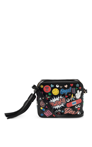 Medium anya hindmarch black crossbody bag all over wink stickers in black circus leather