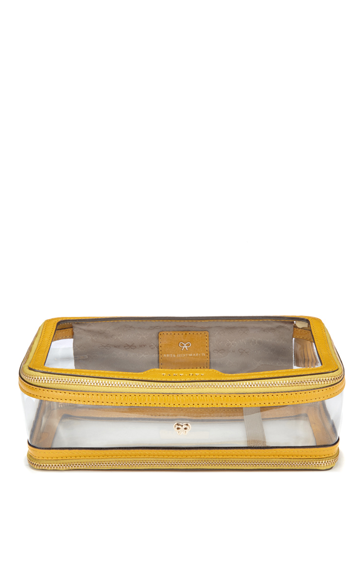 a2d9f3cabb Anya HindmarchInflight Cosmetic Case in Clear & Mustard Plastic with Kid  Leather Trim