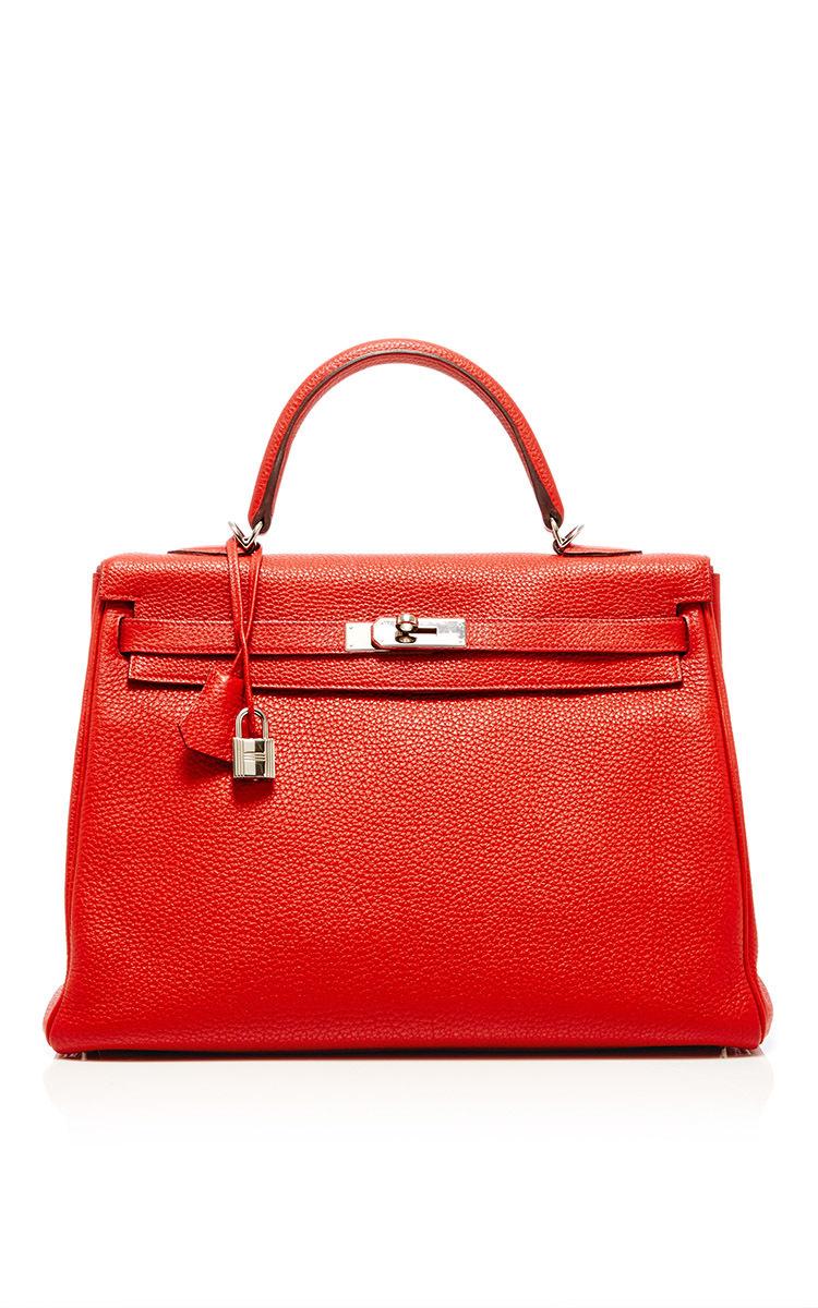 6c4fe0b58c4c Hermes 32cm Vermillion Clemence Leather Kelly by Hermes Vintage ...