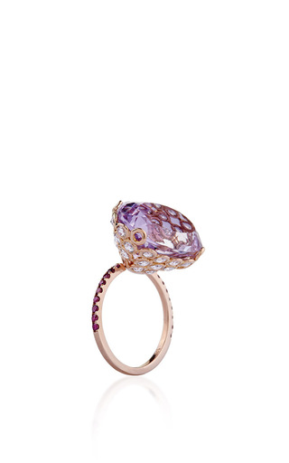 Medium lito purple one of a kind 18k rose gold ring with amethyst