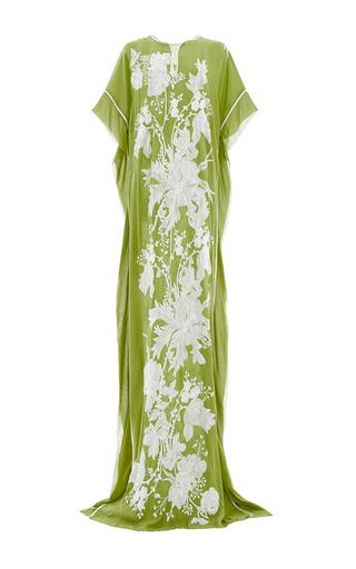 Medium naeem khan lime green floral embroidered caftan