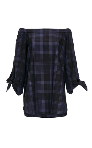 Cotton Off The Shoulder Plaid Tunic by TIBI Now Available on Moda Operandi