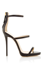 Black Leather Triple Strapped Coline Sandals by GIUSEPPE ZANOTTI Now Available on Moda Operandi