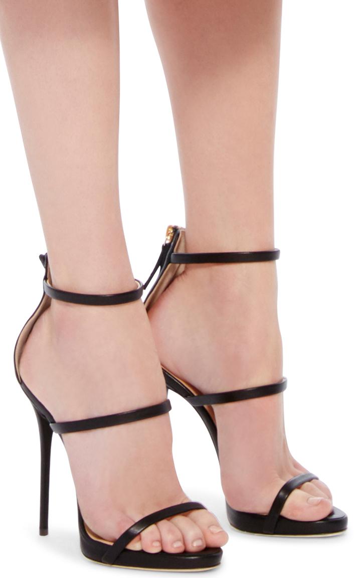 2579e1e2def Giuseppe ZanottiBlack Leather Triple Strapped Coline Sandals. CLOSE. Loading