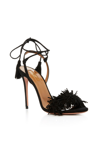 Medium aquazzura black black suede wild thing lace up heels