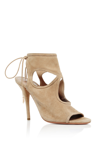 Nude Suede Sexy Thing Cutout Suede Sandals by AQUAZZURA Now Available on Moda Operandi