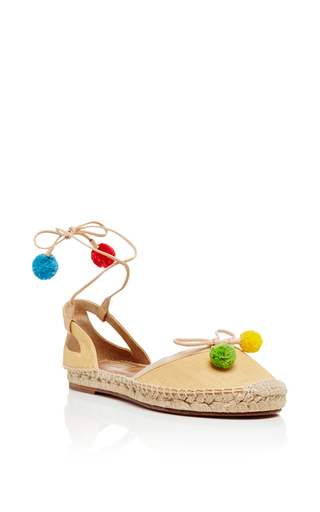 Medium aquazzura nude palm beach pom pom espadrilles
