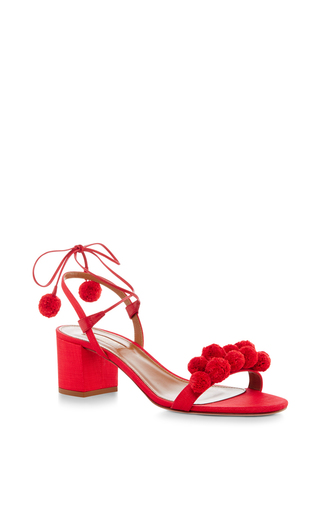 Medium aquazzura red pom pom lace up sandals