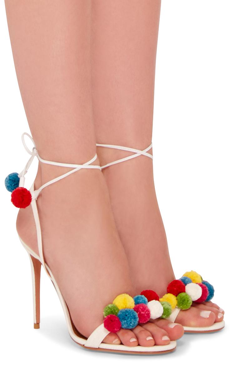 5c379a357dc6 AquazzuraPom Pom Embellished Sandals. CLOSE. Loading