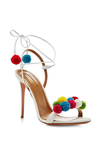 Medium aquazzura white pom pom embellished sandals