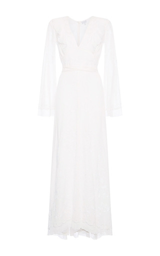 Medium luisa beccaria off white cotton embroidered caftan