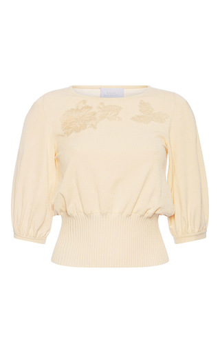 Medium luisa beccaria nude knit lace insert top