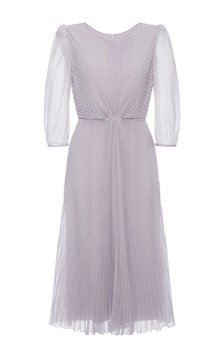 Medium luisa beccaria purple georgette plisse midi dress