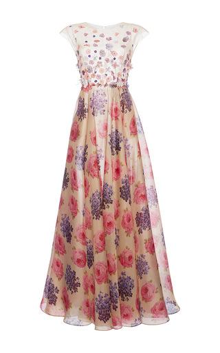Medium luisa beccaria tan floral applique silk gown