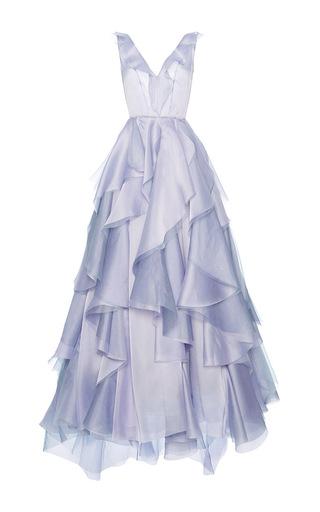 Medium luisa beccaria purple organdy ruffle ball gown