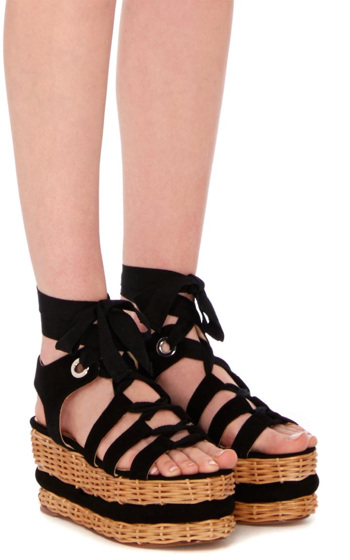 83f3650dbe12 Vivianne Black Suede Lace-Up Platform Sandal by Paloma Barcelo ...
