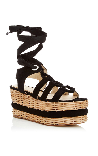 Medium paloma barcelo black vivianne black suede lace up platform sandal