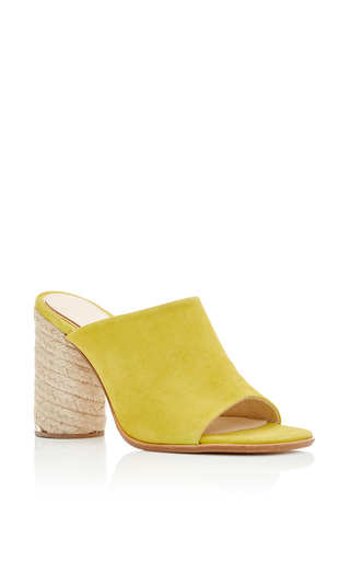 Flora Yellow Suede Mules by PALOMA BARCELO Now Available on Moda Operandi