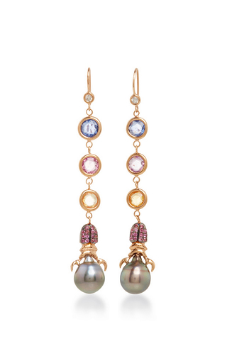 Medium daniela villegas multi 18k gold and south sea pearl nefertiti fairy earrings
