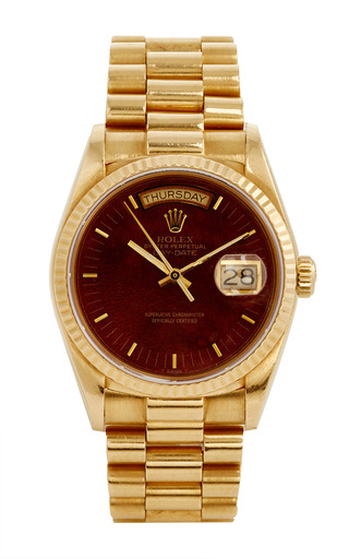 Medium material good gold 18k yellow gold vintage rolex day date president with mahogany dial