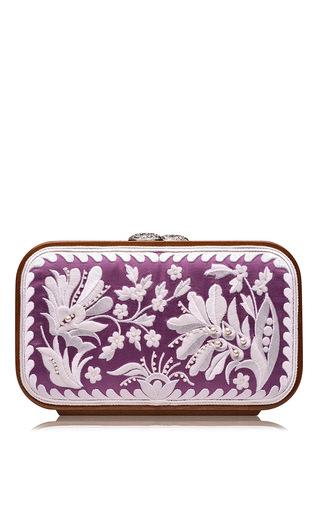 Medium katrin langer purple purple floral brocade embroidered square bag
