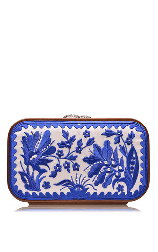 Medium katrin langer white blue floral brocade embroidered square bag