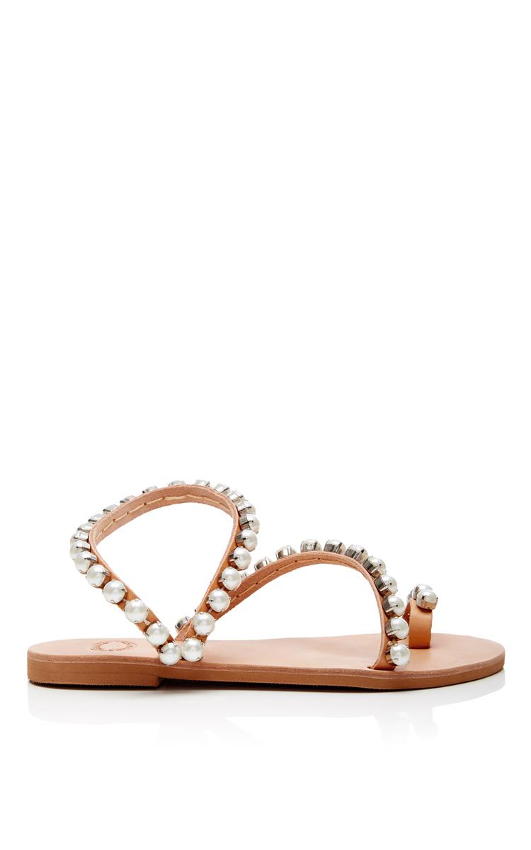 Leather and Pearl Wrap Sandals by Elina Linardaki