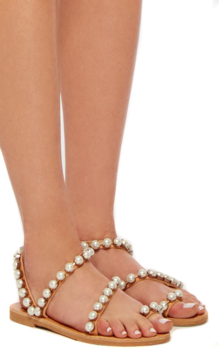Elina LinardakiLeather and Pearl Wrap Sandals. CLOSE. Loading