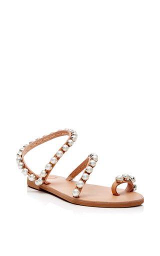 Leather And Pearl Wrap Sandals by ELINA LINARDAKI Now Available on Moda Operandi