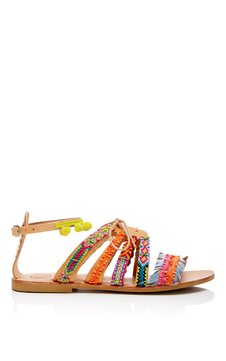 Pom Pom Sandals With Tie by ELINA LINARDAKI Now Available on Moda Operandi