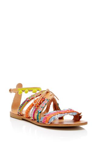 Medium elina linardaki multi pom pom sandals with tie