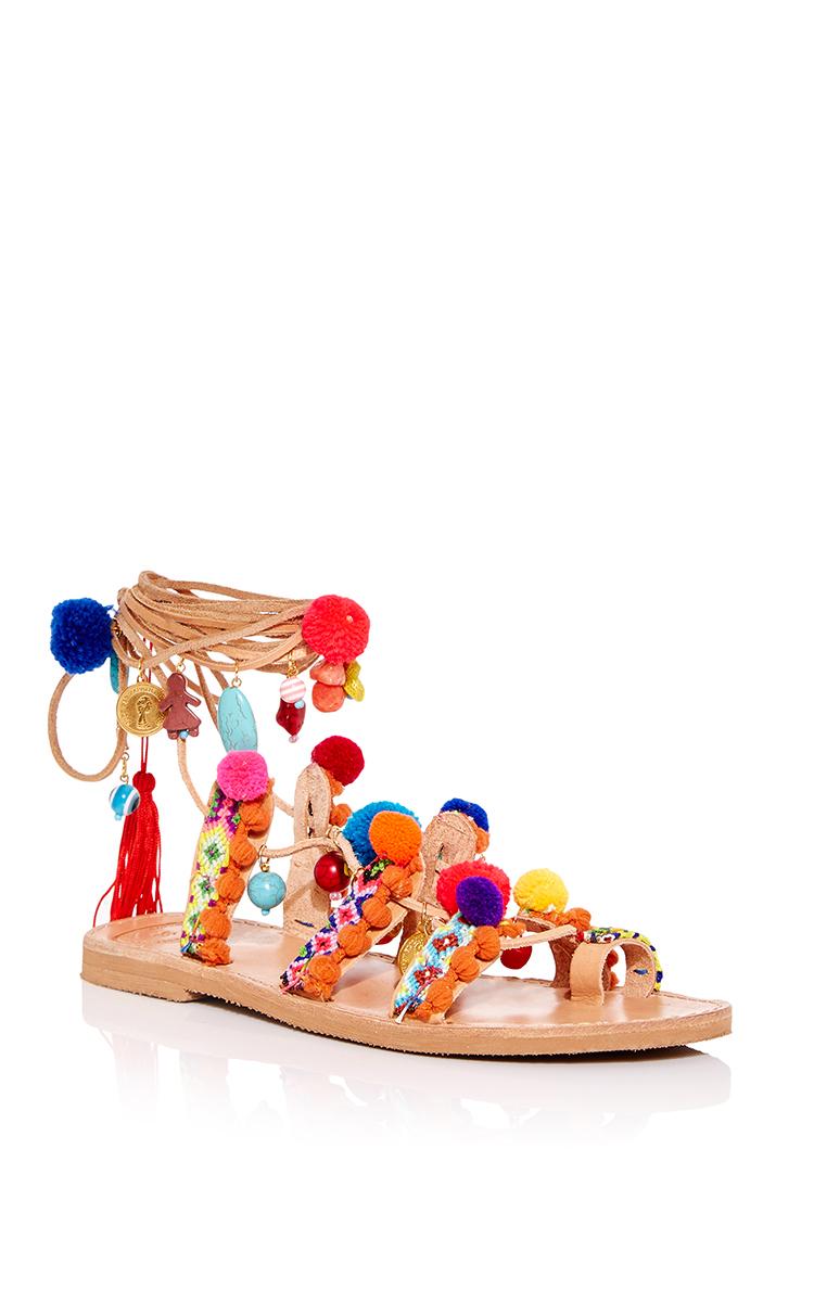 Pom Pom Gladiator Wrap Sandals by Elina Linardaki